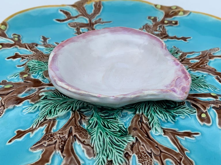 Victorian George Jones Majolica Turquoise Eight Well Oyster Plate, English, circa 1874 For Sale