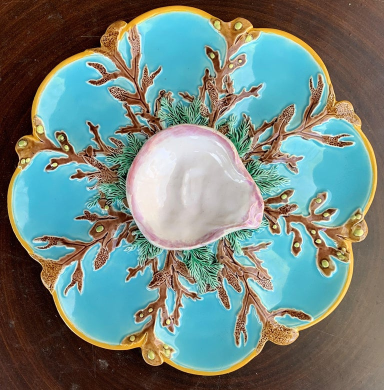 George Jones Majolica Turquoise Eight Well Oyster Plate, English, circa 1874 In Good Condition For Sale In Banner Elk, NC