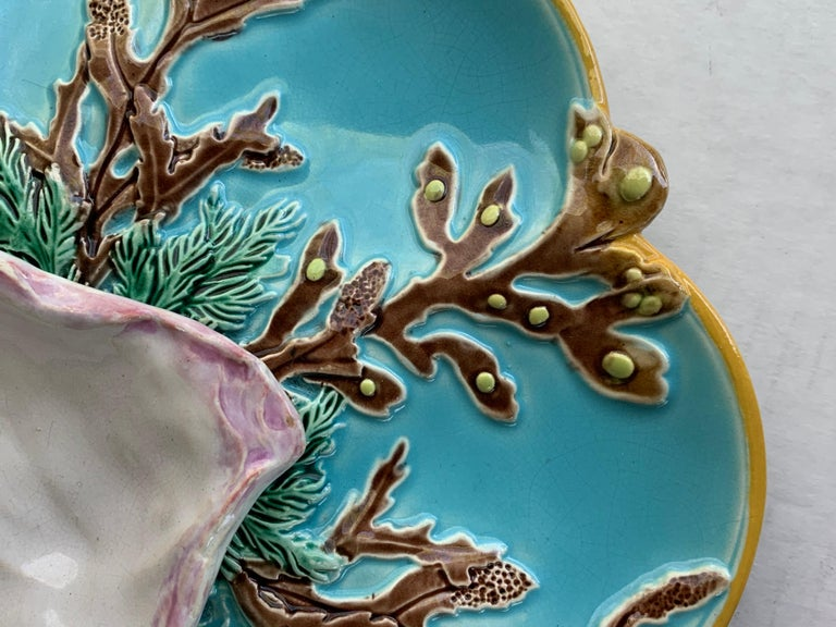 Late 19th Century George Jones Majolica Turquoise Eight Well Oyster Plate, English, circa 1874 For Sale
