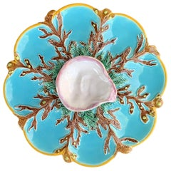 George Jones Majolica Turquoise Eight Well Oyster Plate, English, circa 1874