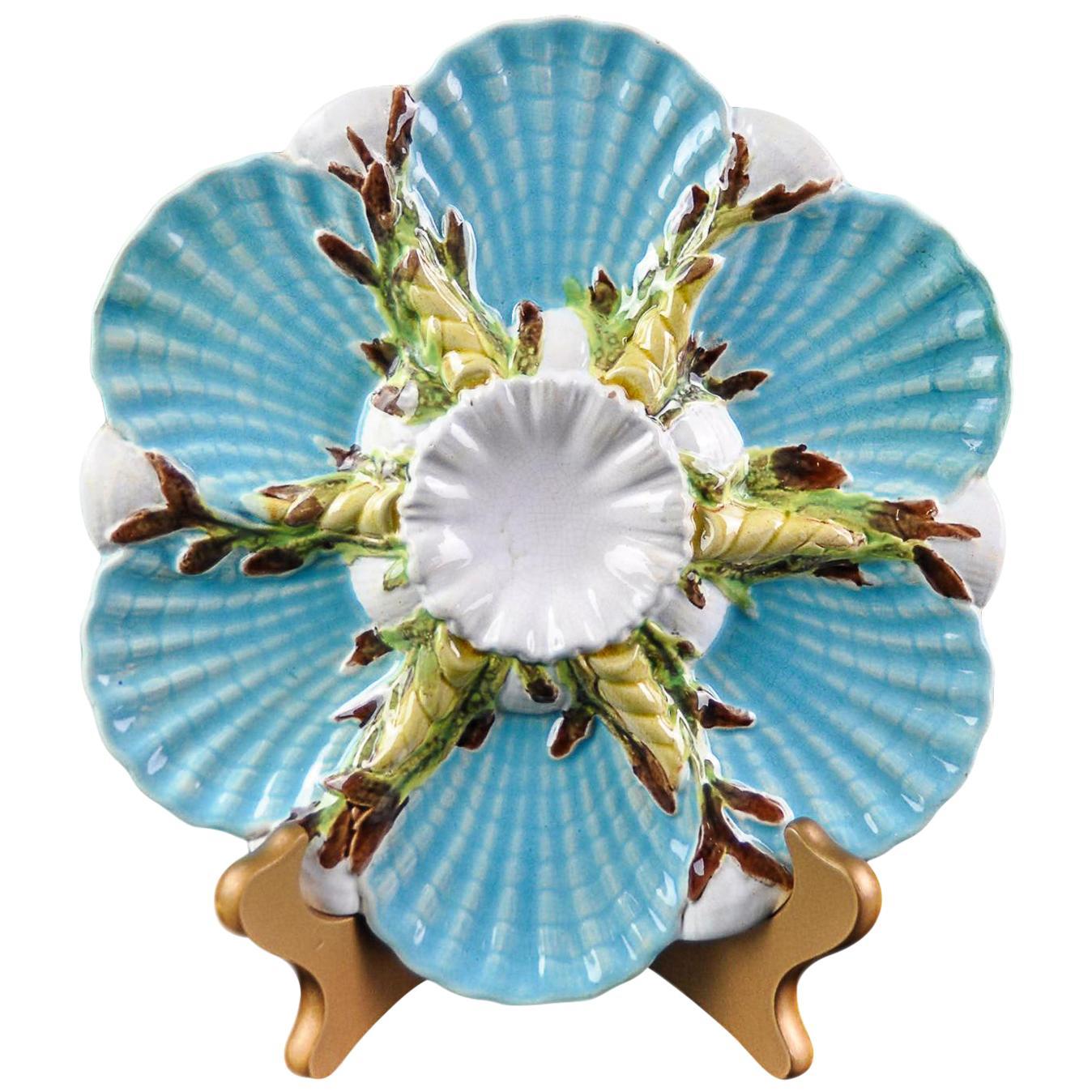 George Jones Majolica Turquoise Oyster Plate, English, circa 1875