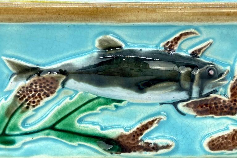 George Jones Majolica Turquoise Sardine Box, Duck and Fish, English, ca. 1874 For Sale 4
