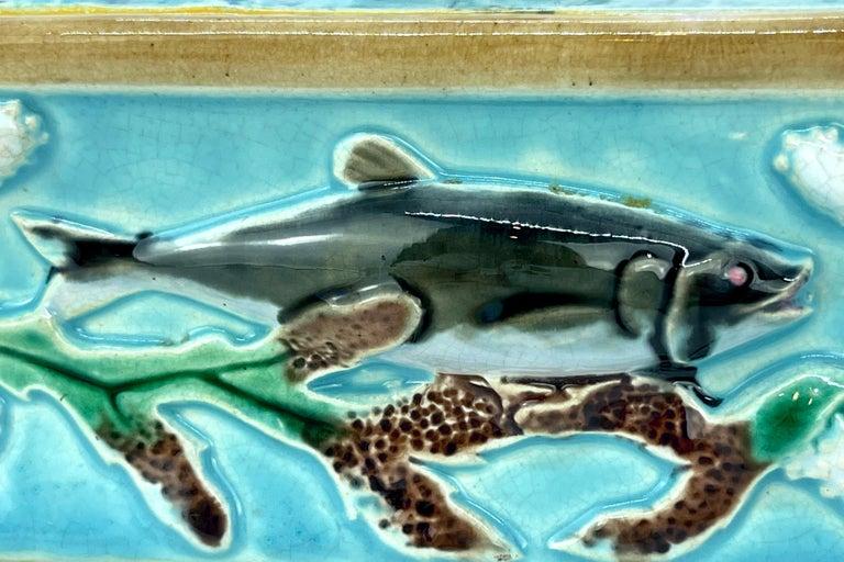 George Jones Majolica Turquoise Sardine Box, Duck and Fish, English, ca. 1874 For Sale 5