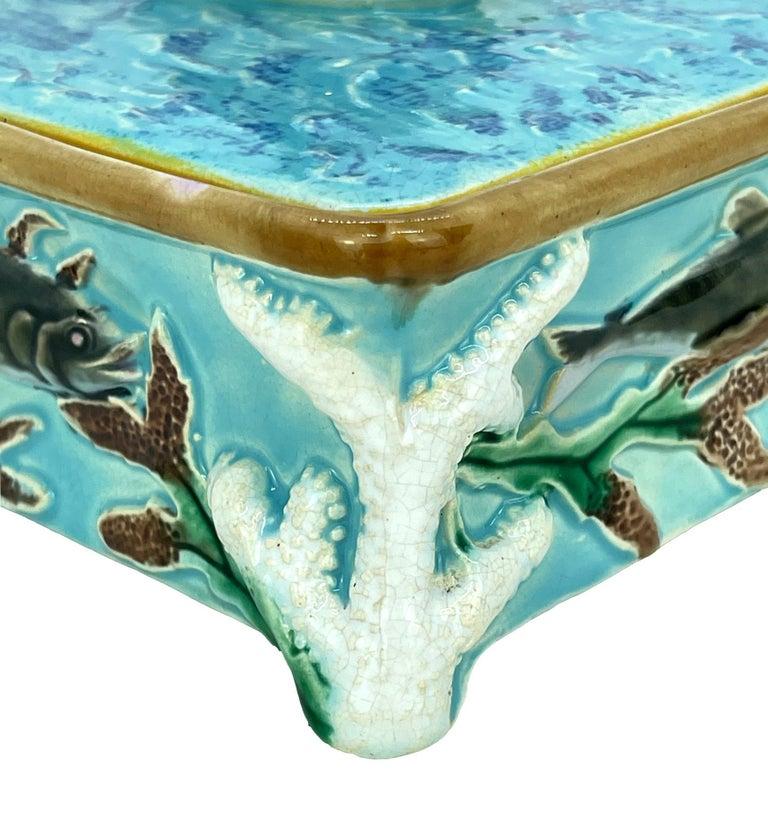 George Jones Majolica Turquoise Sardine Box, Duck and Fish, English, ca. 1874 For Sale 7