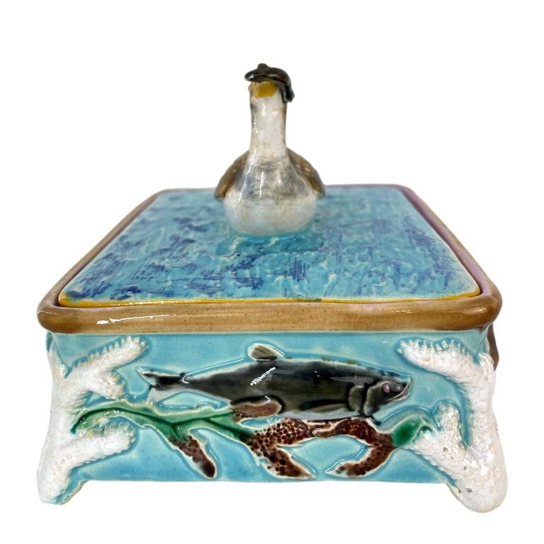 Victorian George Jones Majolica Turquoise Sardine Box, Duck and Fish, English, ca. 1874 For Sale
