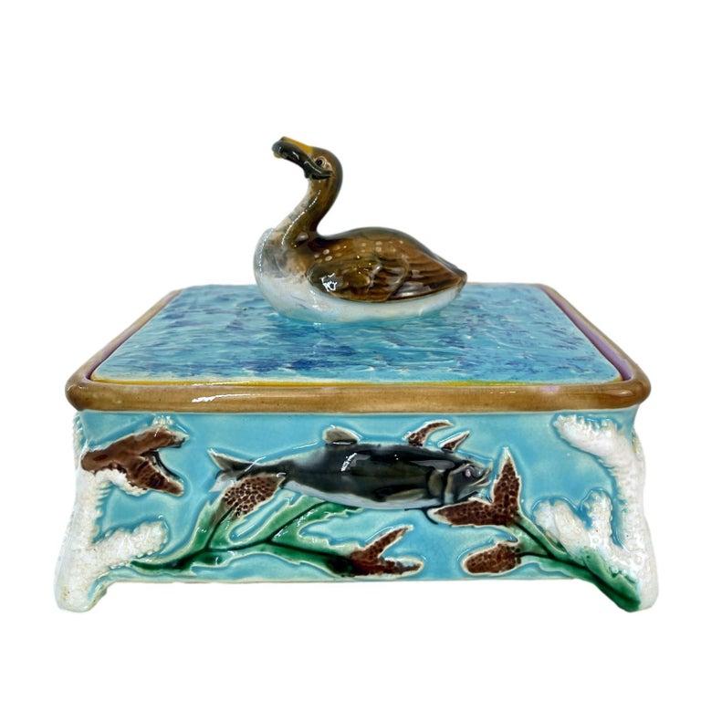 Molded George Jones Majolica Turquoise Sardine Box, Duck and Fish, English, ca. 1874 For Sale