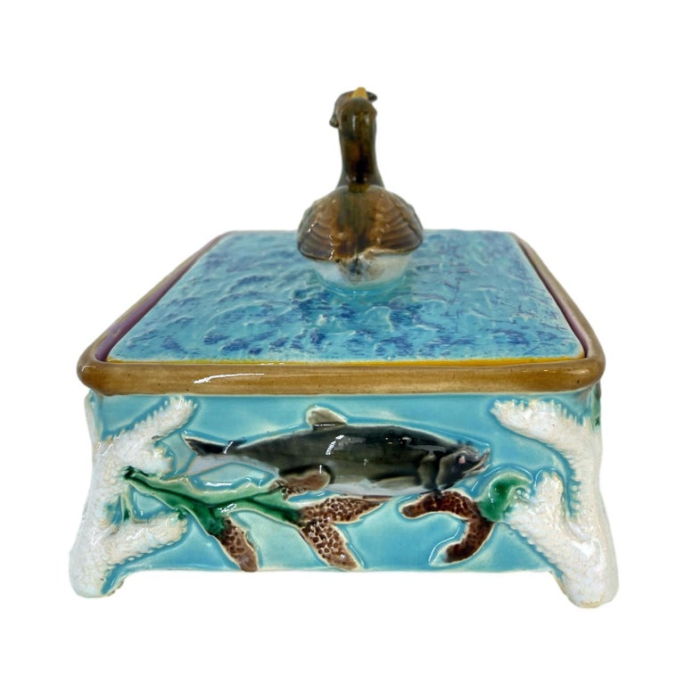 George Jones Majolica Turquoise Sardine Box, Duck and Fish, English, ca. 1874 In Excellent Condition For Sale In Banner Elk, NC