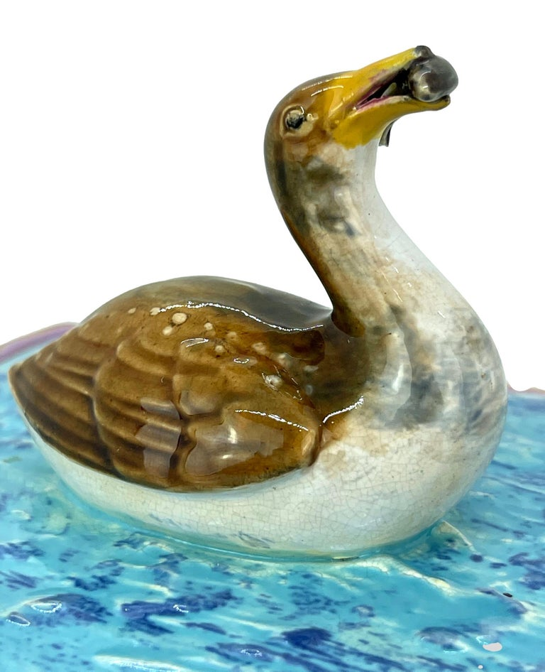 George Jones Majolica Turquoise Sardine Box, Duck and Fish, English, ca. 1874 For Sale 1