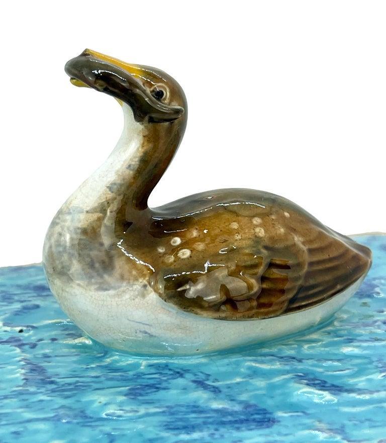 George Jones Majolica Turquoise Sardine Box, Duck and Fish, English, ca. 1874 For Sale 2