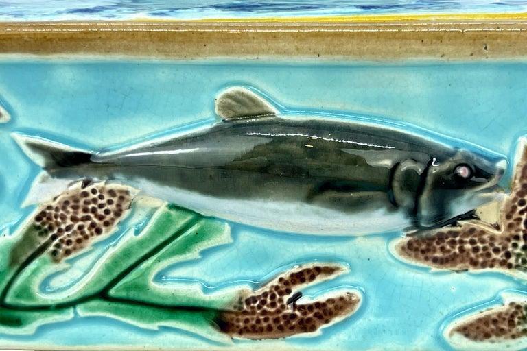George Jones Majolica Turquoise Sardine Box, Duck and Fish, English, ca. 1874 For Sale 3