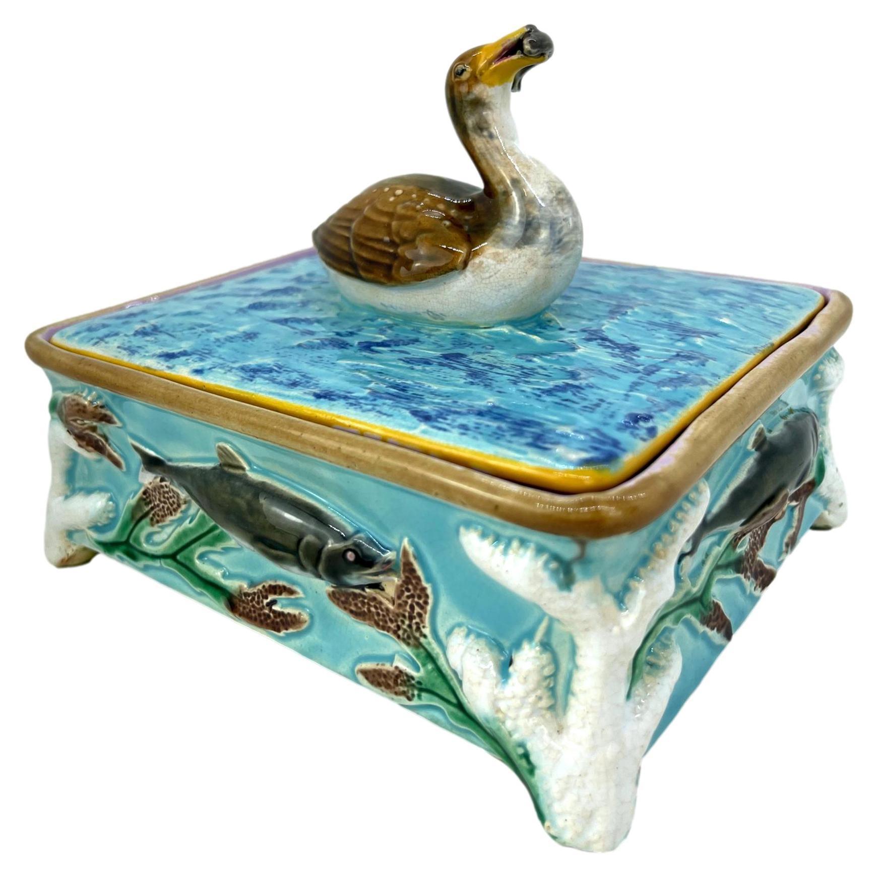 George Jones Majolica Turquoise Sardine Box, Duck and Fish, English, ca. 1874