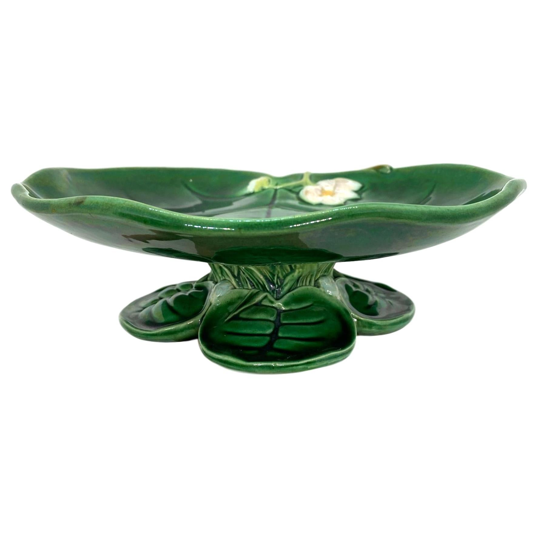 George Jones Majolica Water Lily Pad Footed Comport, Lush Greens, English, 1877