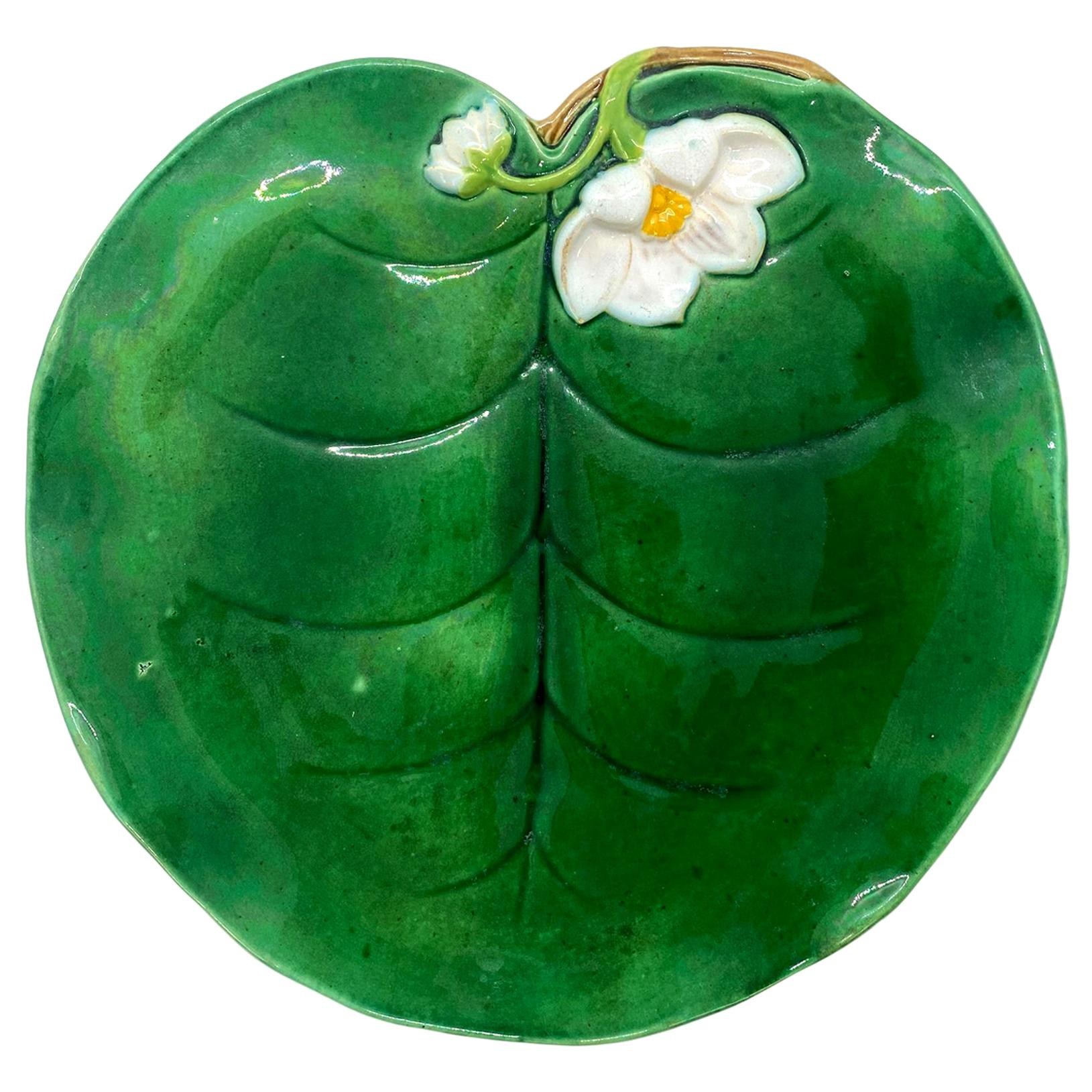 George Jones Majolica Water Lily Plate in Lush Shades of Green, English, 1877