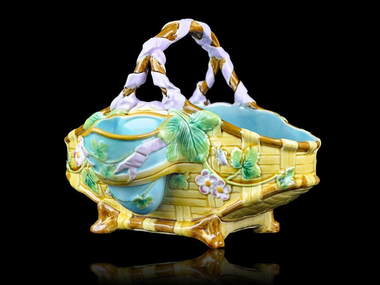 Victorian George Jones Majolica Yellow Strawberry Basket with Bees, English, ca. 1875 For Sale