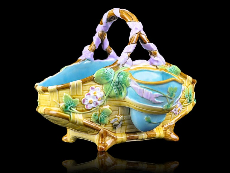 Molded George Jones Majolica Yellow Strawberry Basket with Bees, English, ca. 1875 For Sale