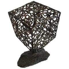 George Kafka Brutalist Bronze Cube Sculpture, 1970