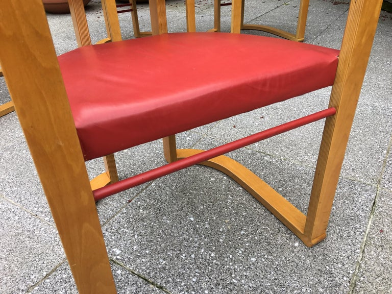 George Kasparian Set of 6 Dining Chairs in Red Leather For Sale 3