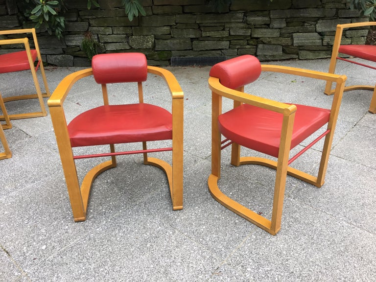 Modern George Kasparian Set of 6 Dining Chairs in Red Leather For Sale