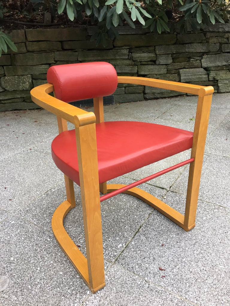 American George Kasparian Set of 6 Dining Chairs in Red Leather For Sale