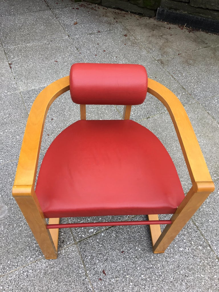 George Kasparian Set of 6 Dining Chairs in Red Leather In Good Condition For Sale In Philadelphia, PA