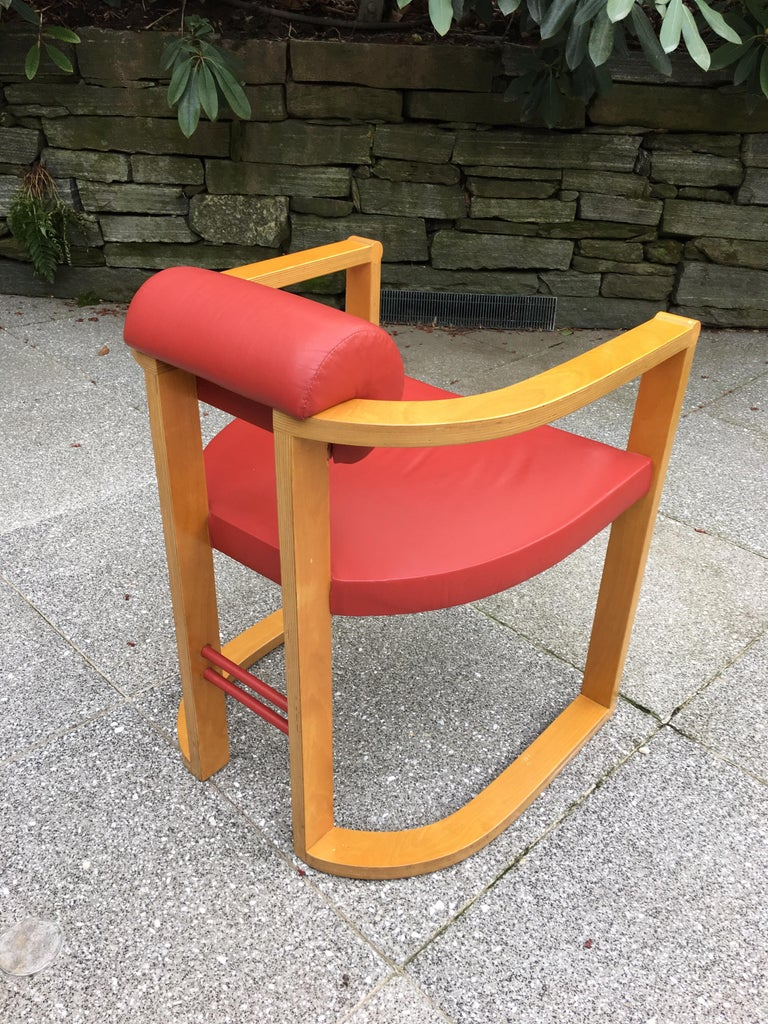 Late 20th Century George Kasparian Set of 6 Dining Chairs in Red Leather For Sale