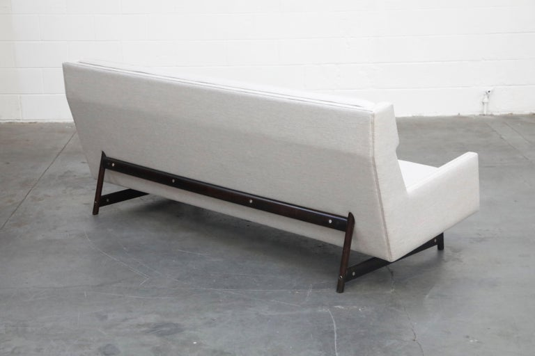 George Kasparian Wingback Sofa on Sculptural Walnut Base 3