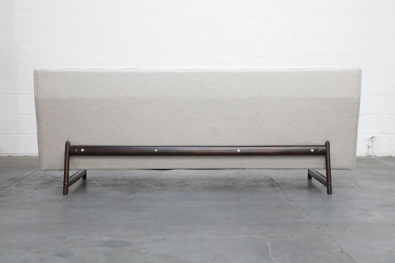 George Kasparian Wingback Sofa on Sculptural Walnut Base 4
