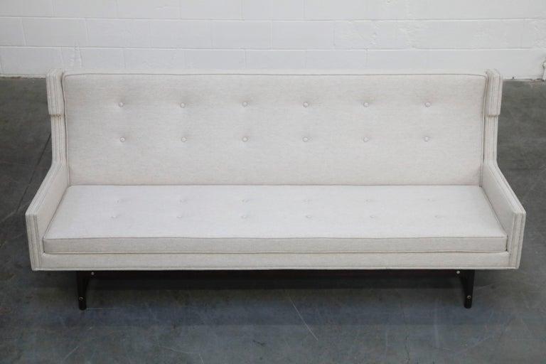Modern George Kasparian Wingback Sofa on Sculptural Walnut Base