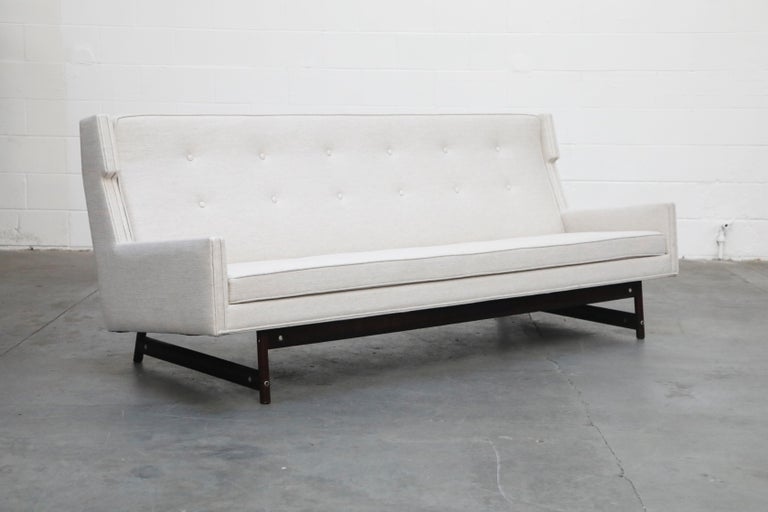 George Kasparian Wingback Sofa on Sculptural Walnut Base In Good Condition In Los Angeles, CA