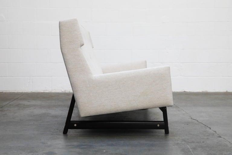 Fabric George Kasparian Wingback Sofa on Sculptural Walnut Base