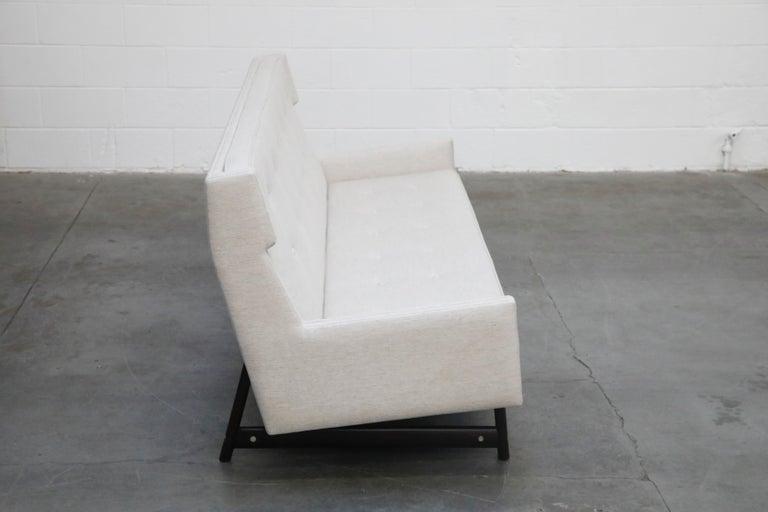 George Kasparian Wingback Sofa on Sculptural Walnut Base 1