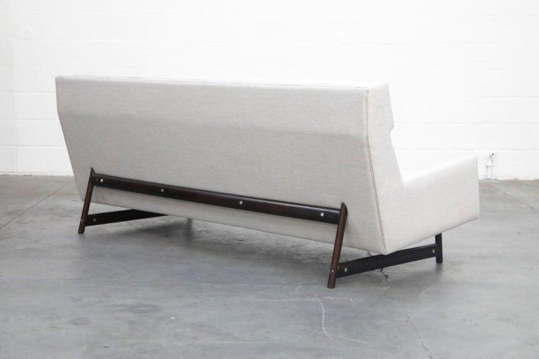 George Kasparian Wingback Sofa on Sculptural Walnut Base 2