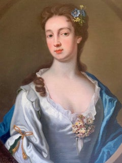 18th Century English Portrait of a Lady in a White and Blue Silk Dress.
