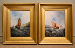 """Pair Oil Paintings by George H Knight """"Fishing Boats off the South Coast"""""""