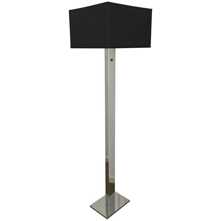 George Kovacs Mid-Century Modern Chrome Metal Floor Lamp For Sale