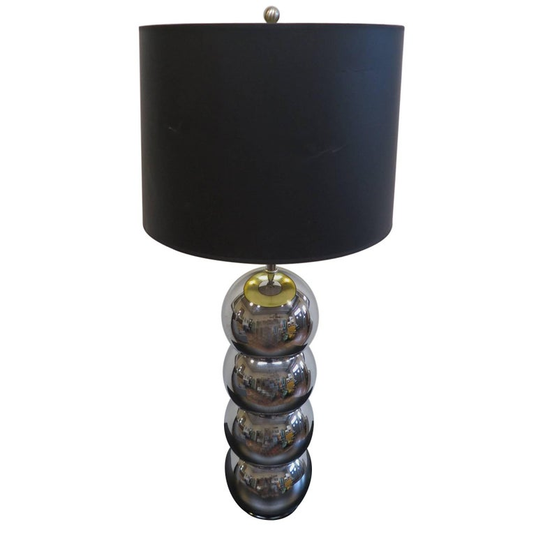George Kovacs Stacked Chrome Sphere Lamp For Sale