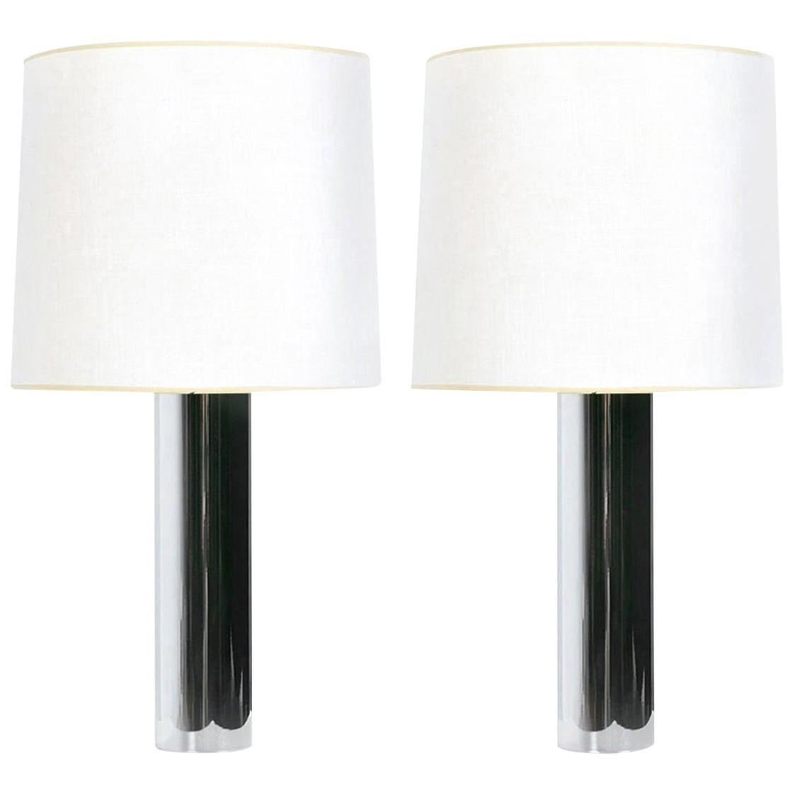 George Kovacs Style Minimalist 1970s Chrome Cylinder Table Lamps with Shades