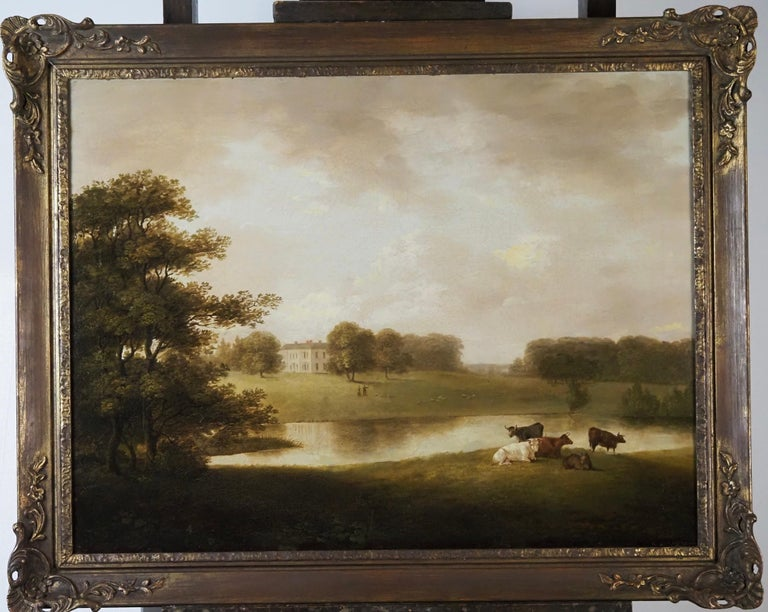 A view of an English Country House in idyllic parkland with cattle grazing - Painting by George Lambert