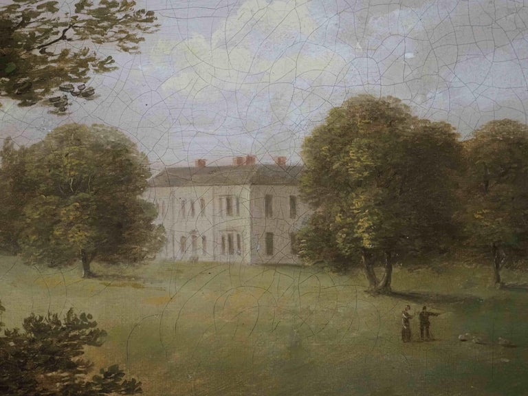 A view of an English Country House in idyllic parkland with cattle grazing - English School Painting by George Lambert