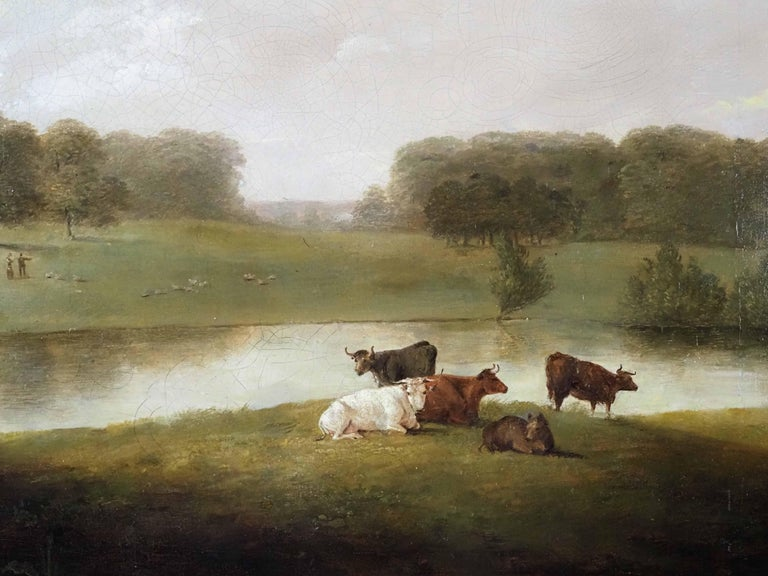 A view of an English Country House in idyllic parkland with cattle grazing - Brown Landscape Painting by George Lambert