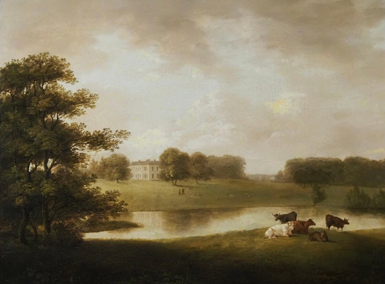 George Lambert Landscape Painting - A view of an English Country House in idyllic parkland with cattle grazing