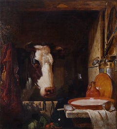 The Stable Door A Victorian Still life with Cow by George Lance 19th Century