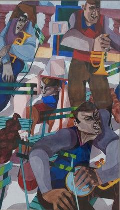 George Large, Bandstand, Musicians, Cubist art
