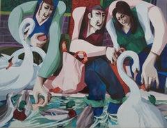 George Large, Feeding the swans, Cubist art