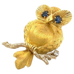 George Lederman 18kt Yellow Gold Owl Brooch with Blue Sapphire Eyes & Diamond