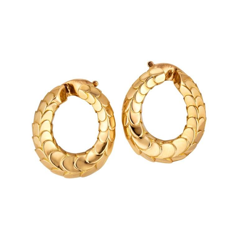 George L'Enfant for Cartier Paris Vintage Gold Clip Hoop Earrings For Sale