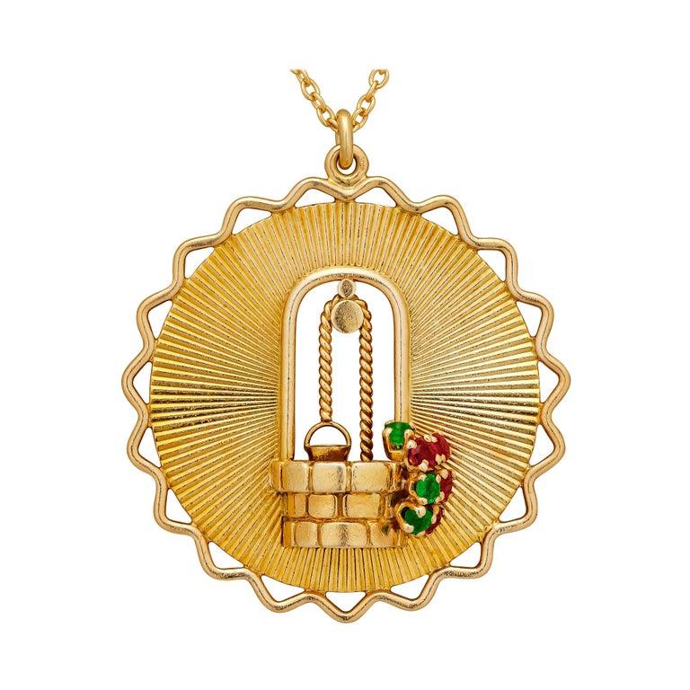 George L'Enfant Paris Tiffany & Co. Vintage Gold Wishing Well Pendant Necklace For Sale