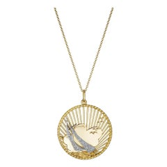 George L'Enfant Tiffany & Co. Mid-Century Diamond Gold Sailboat Charm Necklace
