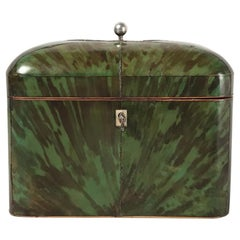 George lll Period Green Tortoiseshell Tea Caddy