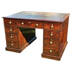 George III Period Mahogany Library Partner's Desk